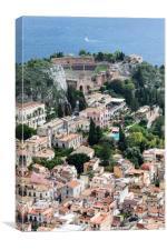 Taormina Sicily town, Canvas Print