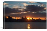 Sun rising over Liverpool, Canvas Print