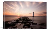 Perch Rock lighthouse at sunset, Canvas Print
