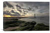 Cloudy sunset at Perch Rock, Canvas Print