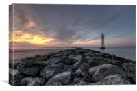 Perch Rock lighthouse after sunset, Canvas Print