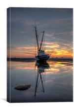 Sunset reflections at Meols, Canvas Print