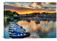 Saundersfoot sunset over the harbour, Canvas Print