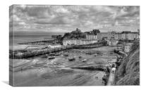 Tenby in Black and White, Canvas Print