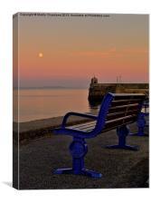 Blue Bench, Blue Moon, Canvas Print