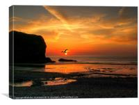 Llangrannog Sunset, Canvas Print