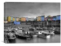 Tenby Harbour - Selective Colouring, Canvas Print