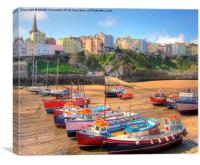 Tenby Colourful Fishing Boats, Canvas Print