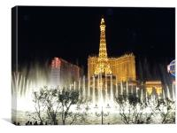 Bellagio Fountains by night, Canvas Print
