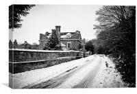 Country house in the snow, Canvas Print