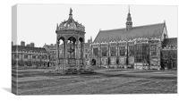 Cambridge University in mono, Canvas Print