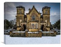 Country house in the Peak District snowy Christma, Canvas Print