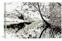 Autumn scene reflected in rippling water, Canvas Print