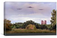 Avro Trio over Tattershall Castle, Canvas Print