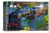 Mid Hants 9F 92212 at Alresford station, Canvas Print