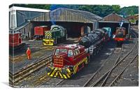 Wansford engine shed, Canvas Print