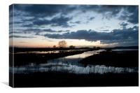 Buckenham Marshes at Sunset April 2012, Canvas Print