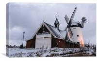 Windmill in the Snow, Canvas Print