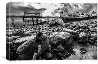 Penarth Pier on the rocks, Canvas Print