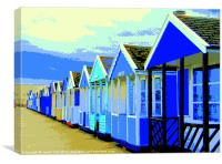 Poster style Southwold beach huts., Canvas Print