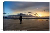 Crosby Beach Iron Man Sunset, Canvas Print
