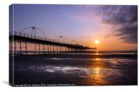 Sunset At Southport Pier, Canvas Print