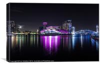 Media City Manchester At Night, Canvas Print