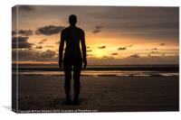 Crosby Beach Iron Man Sillhouette, Canvas Print