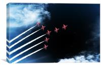 Red Arrows Swan 1 Formation, Canvas Print