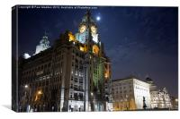 The Three Graces at Liverpool Pier Head, Canvas Print