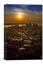 Sunset over Merseyside, Canvas Print