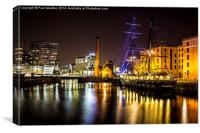 Canning Dock illuminated boat, Canvas Print