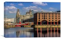The Albert Dock and Royal Liver Building, Canvas Print