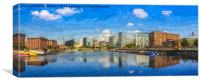 Salthouse Dock Panorama with oil paint effect, Canvas Print