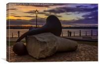 Sculpture at sunset, Canvas Print