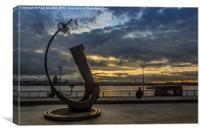 Telescope at the Liverpool Pier Head, Canvas Print
