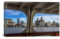 Liverpool waterfront from the Mersey Ferry, Canvas Print