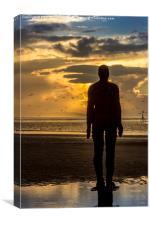 Crosby Beach golden skies, Canvas Print