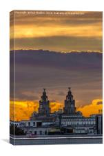 Sunset over the Liver Building, Canvas Print