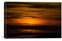 Sunset over the wind farm, Canvas Print