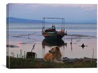 Fishing boat and dog, Canvas Print