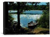 Swedish lake and rowing boats, Canvas Print