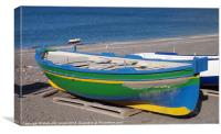 Old Green Fishing Boat, Canvas Print