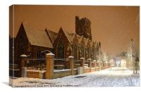 St Marys Acton in the snow., Canvas Print