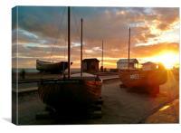 Fishing Boats At Sunset, Canvas Print