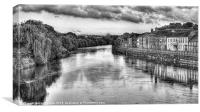 A View From Bewdley Bridge (BW), Canvas Print