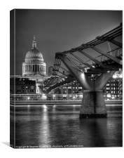 St Paul''s Cathedral and the Millenium Briddge, Canvas Print