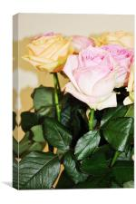 fresh cut banch roses pink yellow, Canvas Print