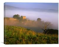 Peveril Castle on a Misty Morning, Canvas Print