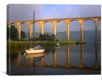 Calstock Viaduct & River Tamar, Canvas Print